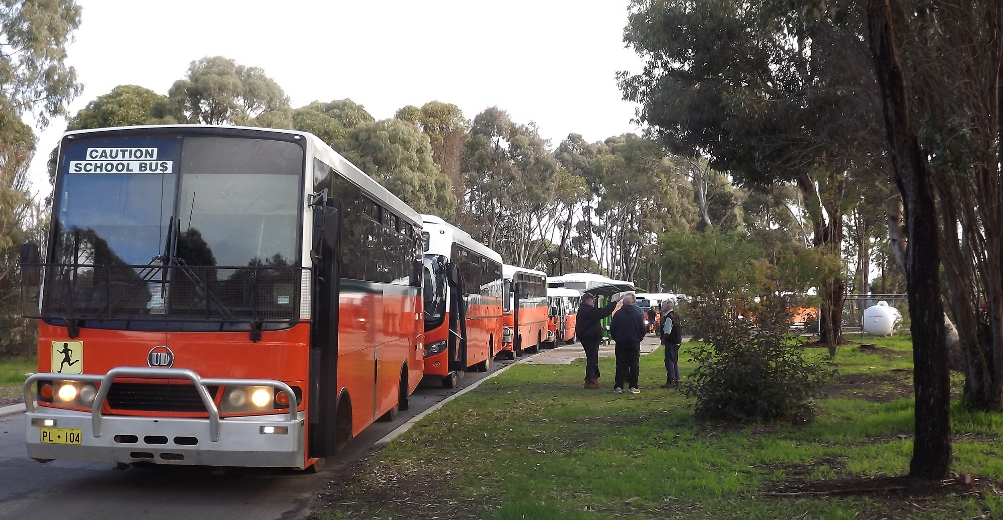 Buses lined at the  Mount Barker Community College